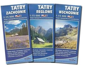 ZESTAW TATRY 1:15 000 komplet 3 map topograficzno-turystycznych: Tatry Zachodnie, Reglowe, Wschodnie WZKart. 2014