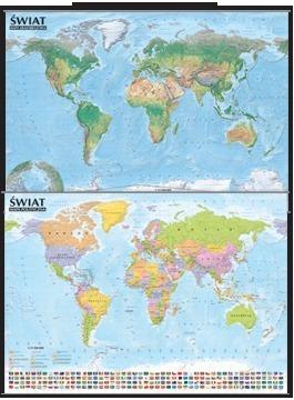 Świat Mapa polityczna i krajobrazowa mapa ścienna oprawiona w listwy 1:44 000 000 EXPRESSMAP