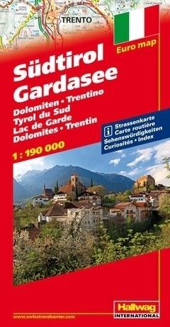 POŁUDNIOWY TYROL JEZIORO GARDA Euro map Sudtirol - Gardasee - Dolomiten - Trentino mapa samochodowa 1:190 000  HALLWAG