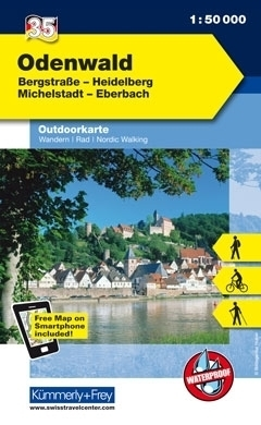 ODENWALD · HEIDELBERG · BERGSTRASSE wodoodporna mapa turystyczna 1:50 000 KUMMERLY FREY