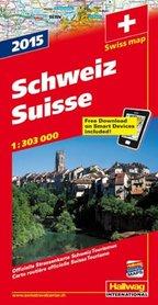 SZWAJCARIA Swiss map Schweiz mapa samochodowa 1:303 000 HALLWAG 2015