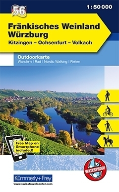 FRANKISCHES WEINLAND, WURZBURG wodoodporna mapa turystyczna 1:50 000 KUMMERLY FREY