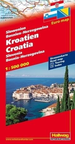 CHORWACJA SŁOWENIA BOŚNIA I HERCEGOWINA Euro map Croatia - Slovenia - Bosnia - Herzegovina  mapa samochodowa 1:500 000  HALLWAG