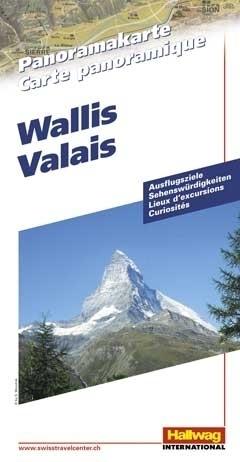 SZWAJCARIA WALLIS Valais mapa panoramiczna HALLWAG