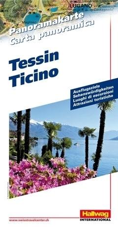 SZWAJCARIA TESSIN Ticino mapa panoramiczna HALLWAG