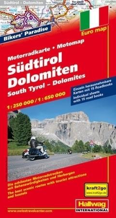 POŁUDNIOWY TYROL I DOLOMITY mapa dla motocyklistów 1:250 000/ 1:650 000 HALLWAG