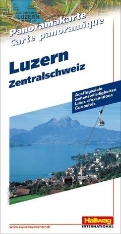 SZWAJCARIA ŚRODKOWA I LUCERNA Lucerne - Central Switzerland mapa panoramiczna HALLWAG