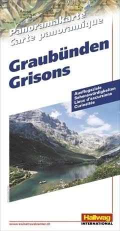 SZWAJCARIA GRYZONIA Grisons mapa panoramiczna HALLWAG