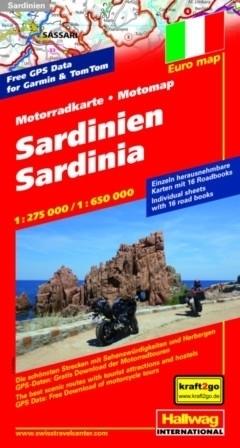 SARDYNIA mapa dla motocyklistów 1:275 000/ 1:650 000 HALLWAG