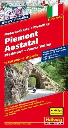 PIEMONT mapa dla motocyklistów 1:250 000/ 1:650 000 HALLWAG