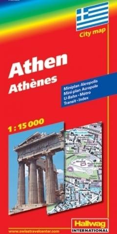 GRECJA ATENY Athens mapa turystyczna 1:15 000 HALLWAG