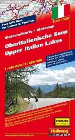 JEZIORA PÓŁNOCNYCH WŁOCH mapa dla motocyklistów 1:250 000/ 1:650 000 HALLWAG