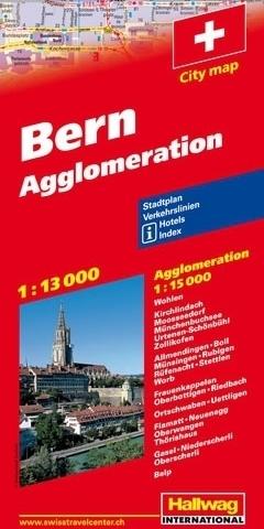SZWAJCARIA BERNO I AGLOMERACJA mapa turystyczna 1:13 000/15 000 HALLWAG