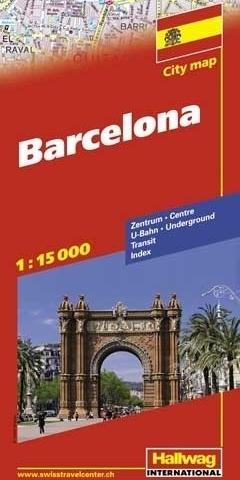 HISZPANIA BARCELONA Barcelone mapa turystyczna 1:15 000 HALLWAG