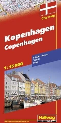 KOPENHAGA Copenhagen plan miasta 1:15 000 HALLWAG