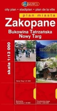 ZAKOPANE BUKOWINA TATRZAŃSKA NOWY TARG plan miasta 1:13 000 DAUNPOL
