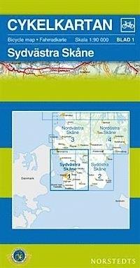 SKANIA POŁUDNIOWY ZACHÓD część 1 Skane South-West wodoodporna mapa rowerowa 1:90 000 NORSTEDTS