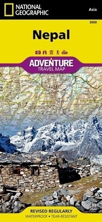 NEPAL Adventure Map 3000 mapa wodoodporna 1:625 000 NATIONAL GEOGRAPHIC