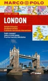 LONDYN laminowany plan miasta 1:15 000 MARCO POLO