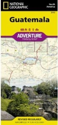 GUATEMALA Adventure Travel Map 3110 mapa wodoodporna 1:500 000 NATIONAL GEOGRAPHIC