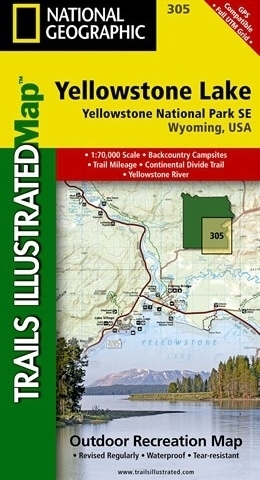 JEZIORO YELLOWSTONE - YELLOWSTONE NATIONAL PARK SE mapa wodoodporna 1:70 000 NATIONAL GEOGRAPHIC