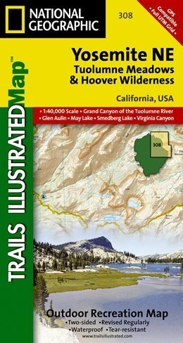 YOSEMITE NE 308 TUOLUMNE MEADOWS mapa wodoodporna 1:40 000 NATIONAL GEOGRAPHIC