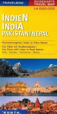 INDIE PAKISTAN NEPAL mapa samochodowa 1:4 000 000 TM KUNTH