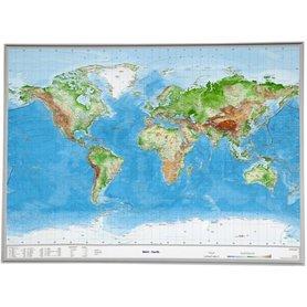ŚWIAT mapa plastyczna w ramie 1:53 500 000 GEORELIEF