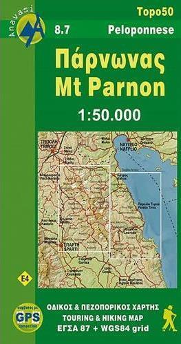 PARNON mapa w skali 1:50 000 ANAVASI