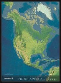AMERYKA PÓŁNOCNA mapa ścienna polityczno-fizyczna COLUMBUS