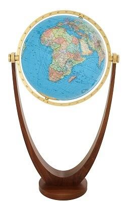 GLOBUS DUO czasza kryształowa, podstawa drewno orzech amerykański, o średnicy 51 cm COLUMBUS