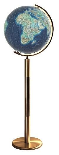 GLOBUS DUO AZZURRO czasza kryształowa, o średnicy 40cm, podstawa mosiądz COLUMBUS