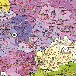 EUROPA magnetyczna mapa, kody pocztowe FREYTAG&BERNDT