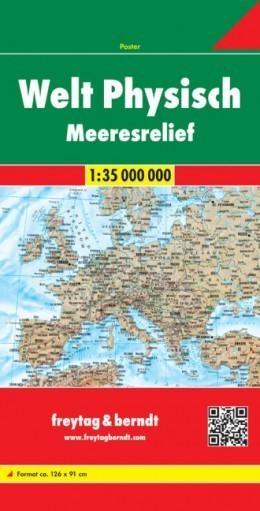 ŚWIAT mapa fizyczna 1:35 000 000 FREYTAG & BERNDT