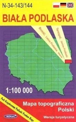 BIAŁA PODLASKA mapa topograficzno-turystyczna 1:100 000 WZKART