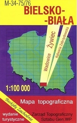 BIELSKO BIAŁA mapa topograficzno-turystyczna 1:100 000 WZKART