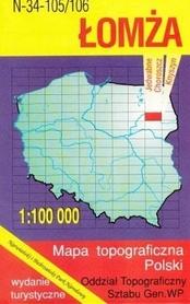 ŁOMŻA mapa topograficzno-turystyczna 1:100 000 WZKART