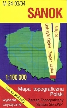 SANOK mapa topograficzno-turystyczna 1:100 000 WZKART 2016