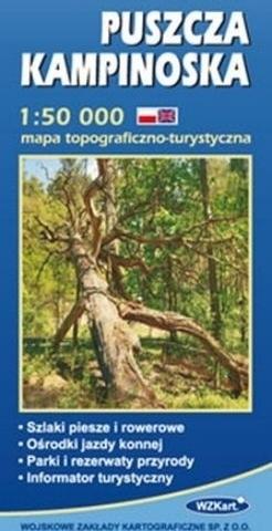 PUSZCZA KAMPINOSKA mapa topograficzno-turystyczna 1:50 000 GPS WZKART 2016