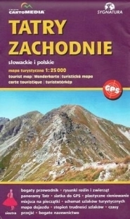 TATRY ZACHODNIE SŁOWACKIE I POLSKIE mapa turystyczna 1:25 000 CARTOMEDIA