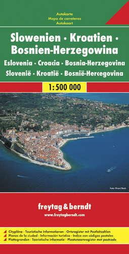 SŁOWENIA CHORWACJA BOŚNIA I HERZEGOWINA mapa 1:500 000 FREYTAG & BERNDT