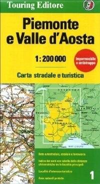 PIEMONT I DOLINA AOSTY mapa samochodowa 1:200 000 TOURING EDITORE