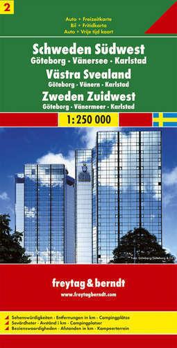 CZ. 2 SZWECJA POŁUDNIOWO ZACHODNIA Goteborg Vanersee Karlstad mapa samochodowa 1:250 000 FREYTAG & BERNDT