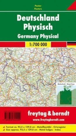 NIEMCY FIZYCZNE mapa ścienna 1:700 000 FREYTAG&BERNDT