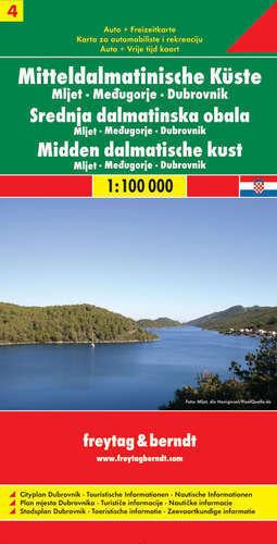 CHORWACJA - CZ. 4 WYBRZEŻE DALMATYŃSKIE Mljet Medugorje Dubrovnik mapa samochodowa 1:100 000 FREYTAG & BERNDT