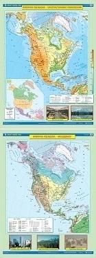 AMERYKA PÓŁNOCNA mapa ścienna ukształtowanie powierzchni/krajobrazy NOWA ERA