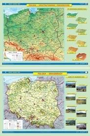 POLSKA mapa ścienna ukształtowanie powierzchni/krajobrazy NOWA ERA
