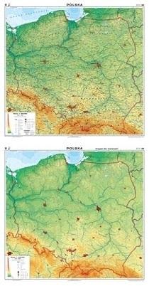 POLSKA mapa ścienna ogólnogeograficzna mapa do ćwiczeń NOWA ERA