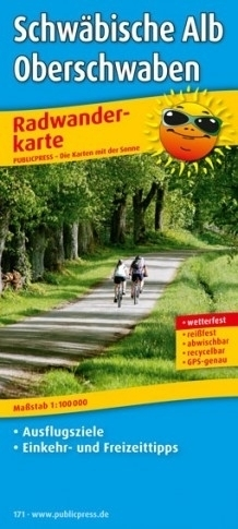 JURA SZWABSKA I GÓRNA SZWABIA mapa rowerowa laminowana PUBLICPRESS