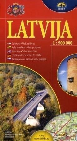 ŁOTWA  mapa samochodowa 1:500 000 BRIEDIS